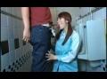 トイレの清掃中にチンポ見てたら我慢できずにフェラチオ&SEX!